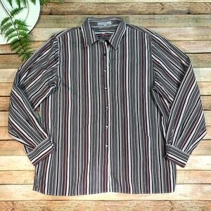 FOXCROFT Wrinkle Free Classic Fit Stripes Sz16